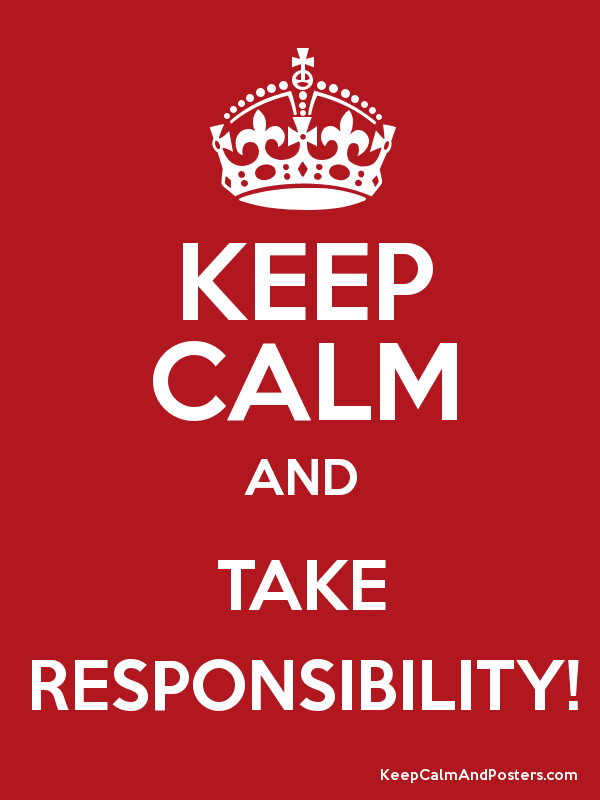 KEEP CALM AND TAKE RESPONSIBILITY! Poster