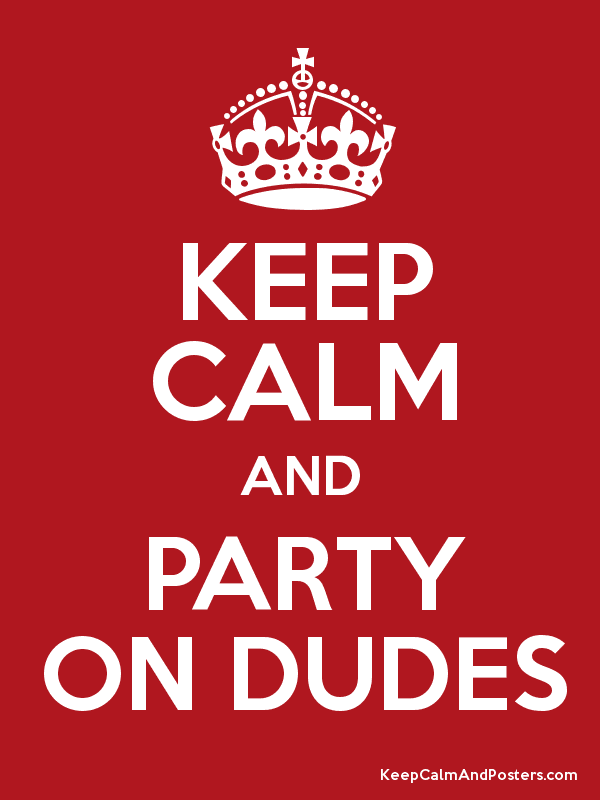 KEEP CALM AND PARTY ON DUDES Poster