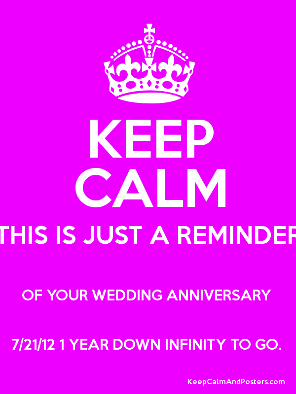 Keep Calm This Is Just A Reminder Of Your Wedding Anniversary 7 21 12