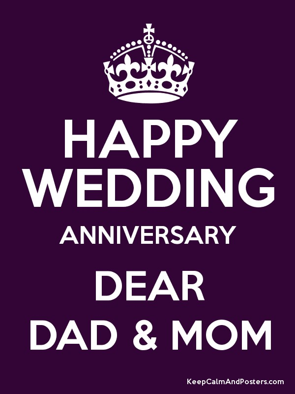 Hy Wedding Anniversary Dear Dad Mom Poster