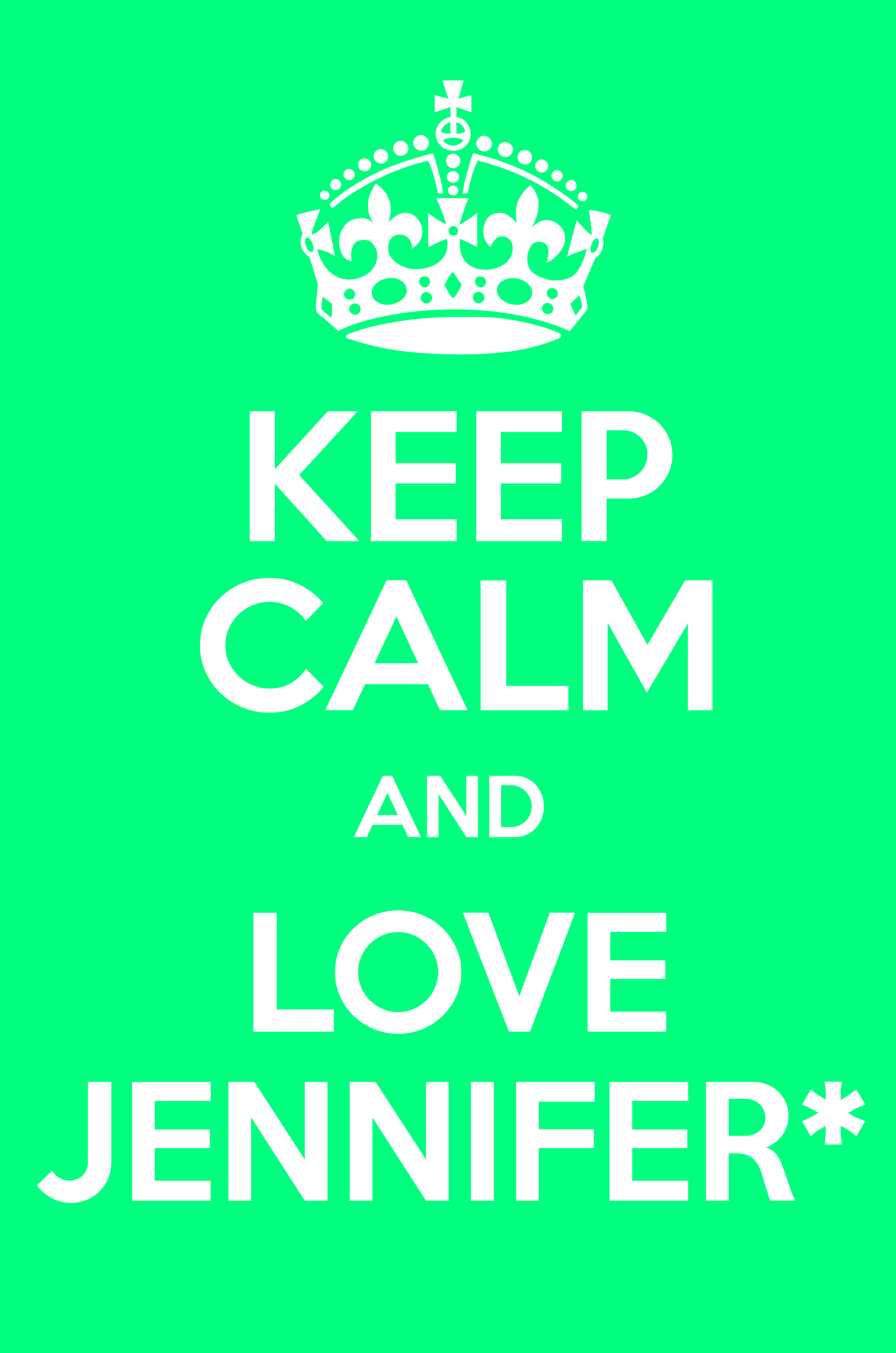 KEEP CALM AND LOVE JENNIFER* - Keep Calm and Posters