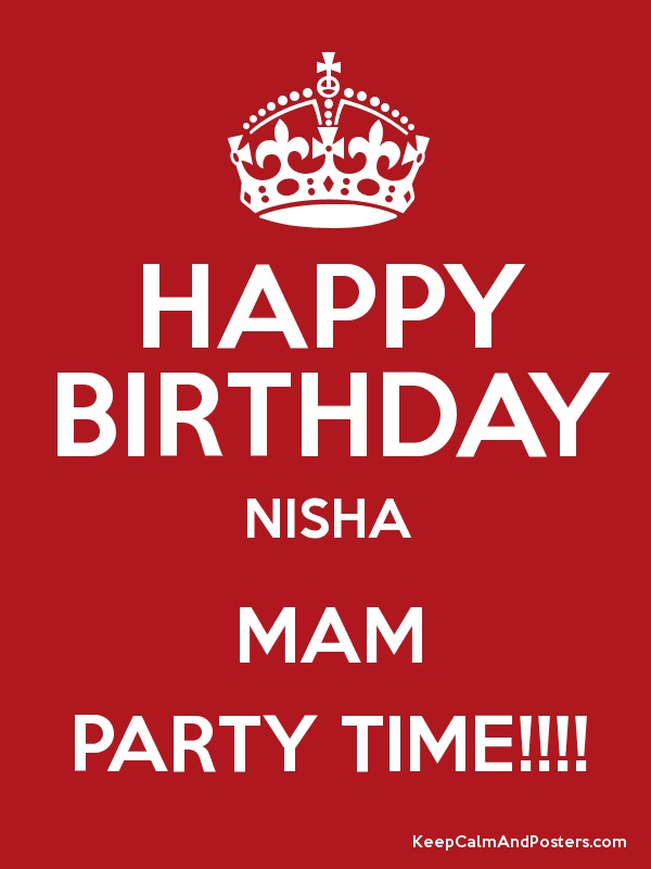 Happy Birthday Nisha Mam Party Time Keep Calm And Posters