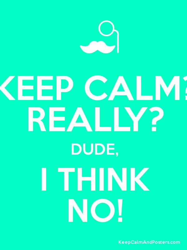KEEP CALM? REALLY? DUDE, I THINK NO! Poster