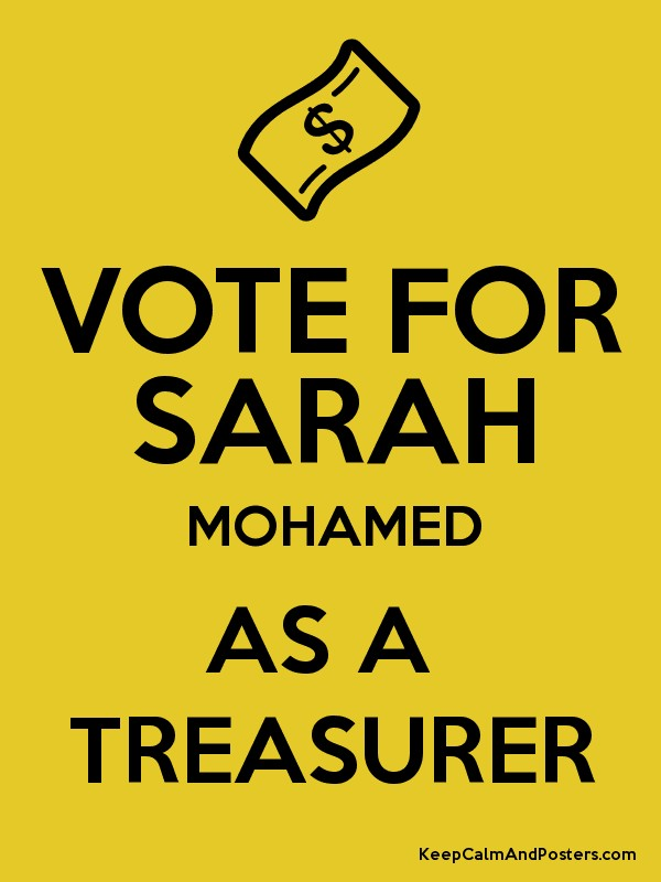 Vote for Treasurer Posters | just b.CAUSE