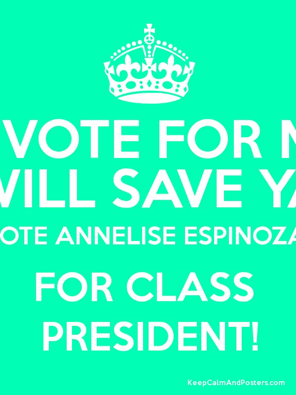 A VOTE FOR ME WILL SAVE YA VOTE ANNELISE ESPINOZA FOR ...