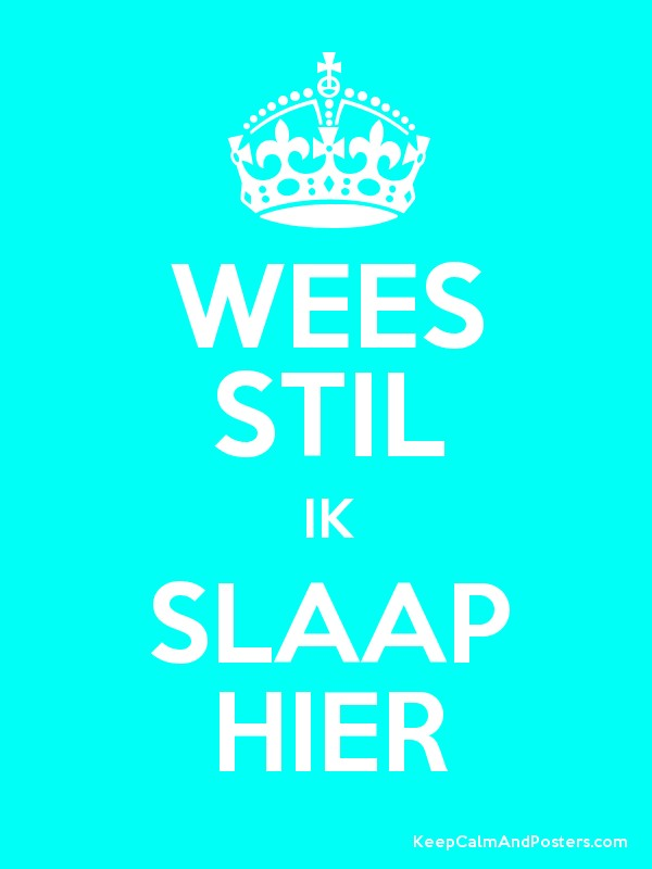 Wees Stil Ik Slaap Hier Keep Calm And Posters Generator Maker For