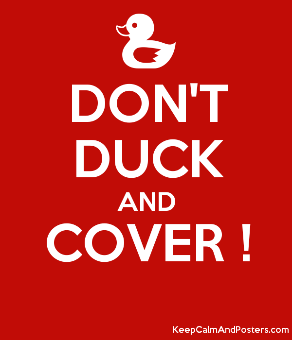 DON'T DUCK AND COVER !  Poster
