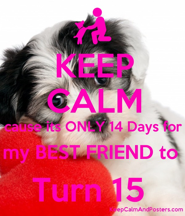 KEEP CALM cause its ONLY 14 Days for my BEST FRIEND to  Turn 15  Poster