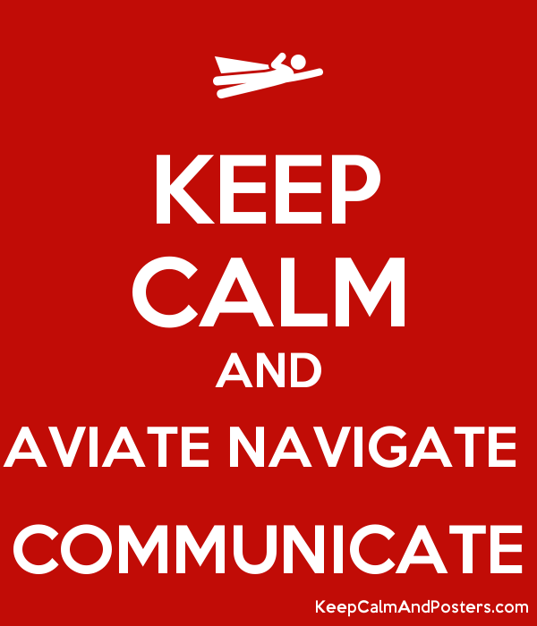 KEEP CALM AND AVIATE NAVIGATE  COMMUNICATE Poster