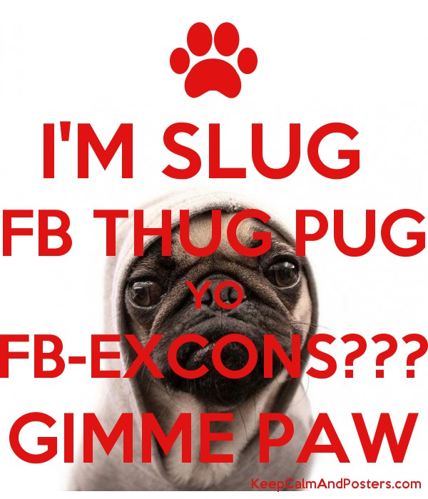 I'M SLUG FB THUG PUG YO FB-EXCONS??? GIMME PAW - Keep Calm and