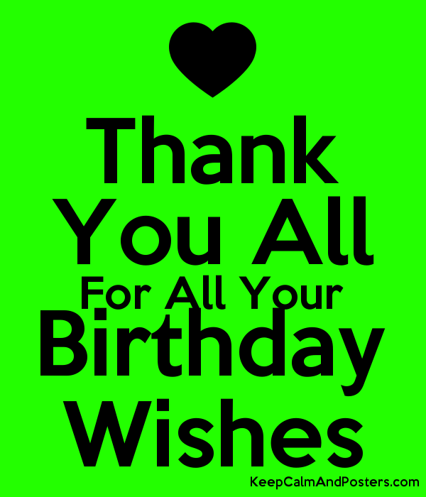 Thank You All For Your Birthday Wishes Poster