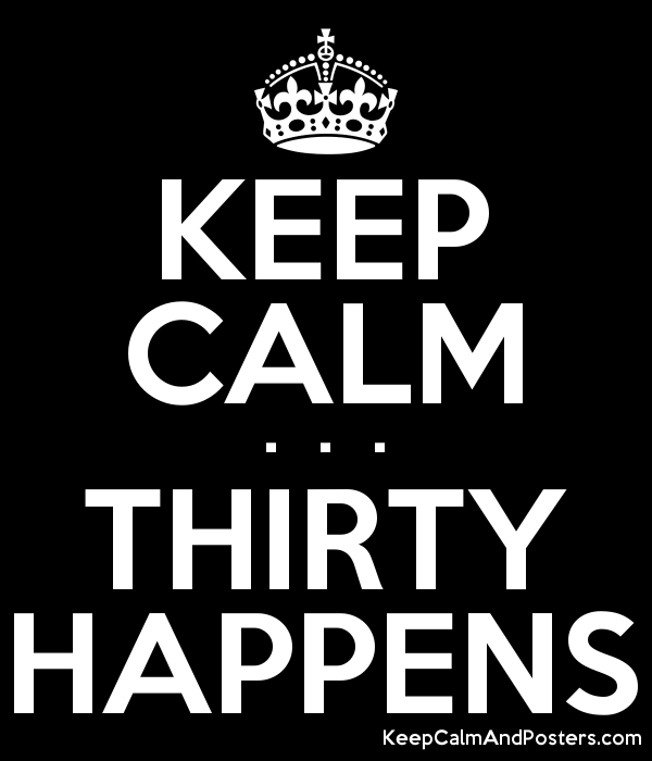 KEEP CALM .  .  . THIRTY HAPPENS Poster