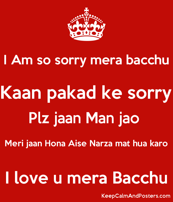 I Am So Sorry Mera Bacchu Kaan Pakad Ke Sorry Plz Jaan Man Jao Meri