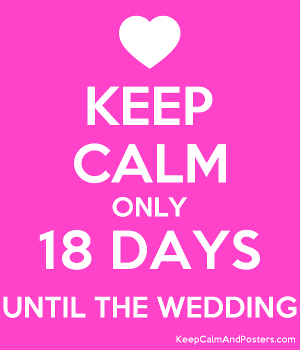 Keep Calm Only 18 Days Until The Wedding Poster