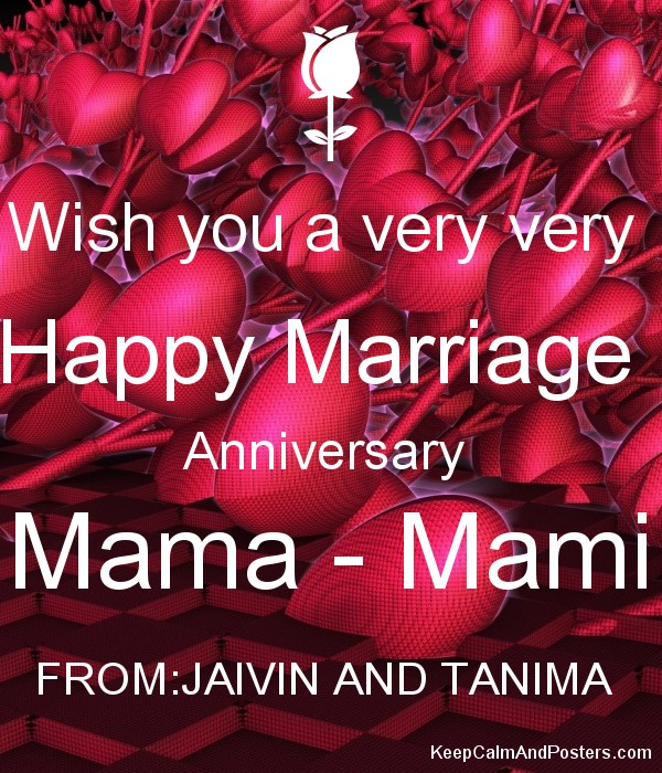 Wish You A Very Very Happy Marriage Anniversary Mama Mami From