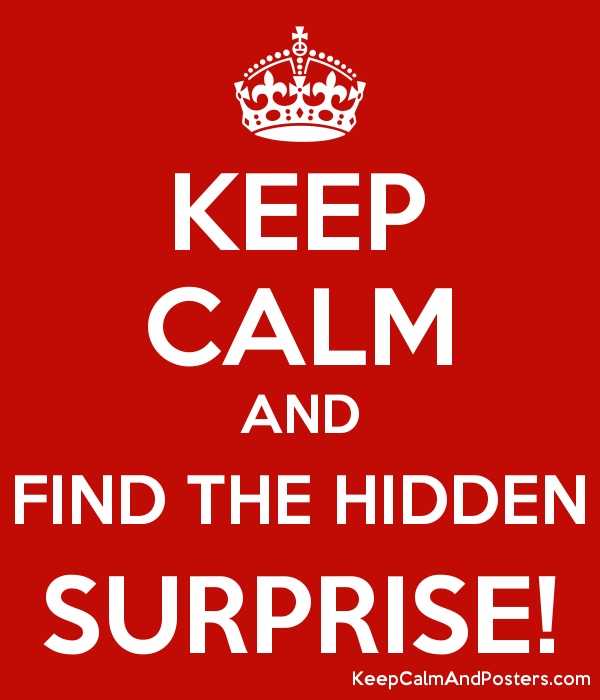 KEEP CALM AND FIND THE HIDDEN SURPRISE! Poster