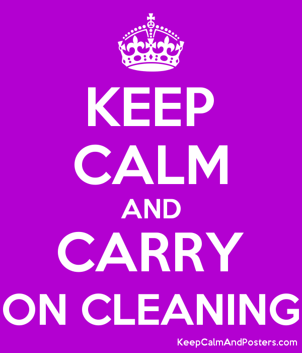 KEEP CALM AND CARRY ON CLEANING Poster