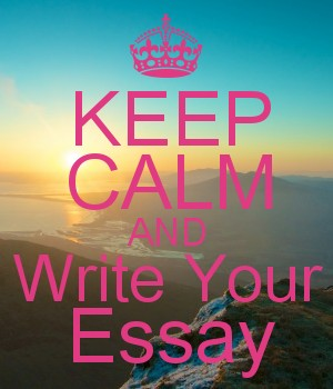 Poster of beach scene saying Keep Calm and Write Your Essay