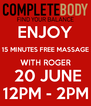 ENJOY 15 MINUTES FREE MASSAGE WITH ROGER  20 JUNE 12PM - 2PM