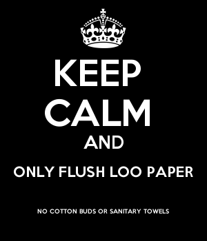 KEEP  CALM  AND ONLY FLUSH LOO PAPER NO COTTON BUDS OR SANITARY TOWELS