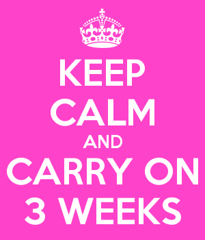 KEEP CALM AND CARRY ON 3 WEEKS